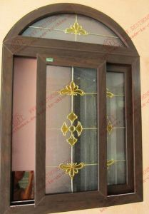 Black Walnut Arched PVC Sliding Window (BHP-SWA13) pictures & photos