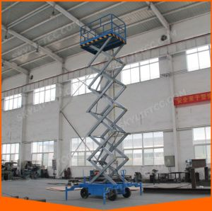 12m Mobile Scissor Lifts for Warehouse High Works with Top Safe Guard pictures & photos