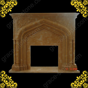 Henan Yellow Marble Carving Fireplace Mantel (GS-FF-030) pictures & photos
