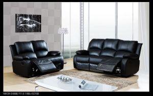 Black Genuine Leather Recliner Sofa Set