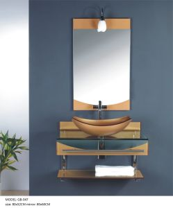Bathroom Glass Wash Basin with Mirror