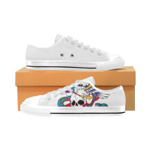 Style No Custom Sneaker 023 Low Cut Print Unisex Canvas Casual Shoes White Black pictures & photos