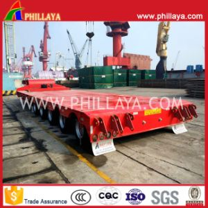5axles 80tons Low Bed Lowbed Heavy Duty Transportation Truck Trailer pictures & photos