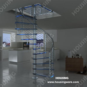 Indoor Stainless Steel Tempered Glass Spiral Staircase
