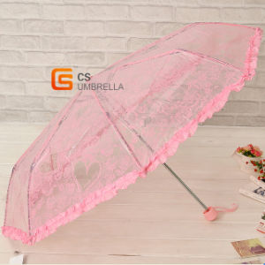 21inch Waterproof Poe Lace Fold Umbrella (YS-T1005A) pictures & photos