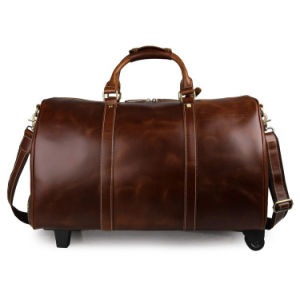 Good Quality Vintage Style Real Leather Trolley Luggage Duffel Bags pictures & photos