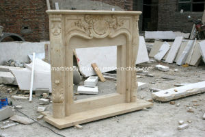 Egypt Beige Cream Hand Carved Beige Marble Fireplace Mantel Sy-Mf323 pictures & photos