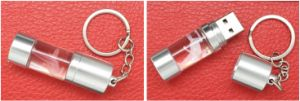 New Crystal Transparent Swivel Open Cover Cylinder Shape USB Disk with Key Chain USD Flash Disk (C006) pictures & photos