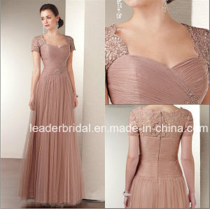 Custom Designer Evening Dresses Square Neck Rosy Tulle Lace Short Sleeves Prom Dress Jeweled Mother of The Bride Dresses Long Wedding Formal Gowns (MT01)