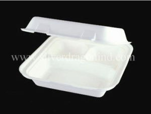 Biodegradable Compostable Sugarcane Bagasse Lunch Box 10 Inch, 3comp Box pictures & photos