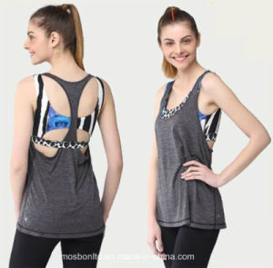 Hot Sale Women Yoga Vest with a Built in Bra Custom Gym Tank Top pictures & photos