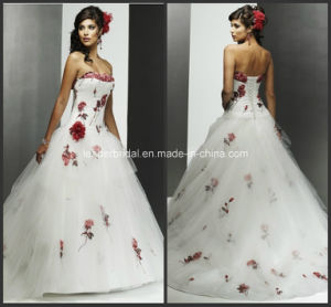 Strapless Flowers Lace-up Back Ball Gowns New Wedding Dresses Z9018 pictures & photos