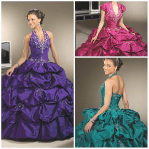 2012 New Magnificent Halter A-Line Sheath Jacket Ruffle Beaded Taffeta Quinceanera Dresses (QD-015)
