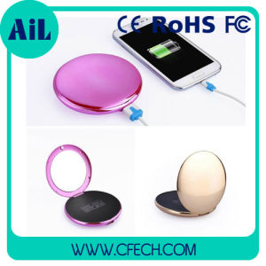 Round Metal Fashion Mirror 4000mAh Mobile Power Bank