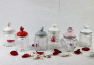 Mini Glass Candy Storage Jar with Ceramic Animal Lid pictures & photos