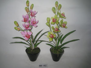 2012 Newest Style Cymbidium Faberi Two Singels Artificial Flowers with Small Pot Mh-033