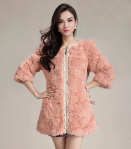 Women′s Three Quarter Sleeve Rabbit Fur Coat Simple Style pictures & photos