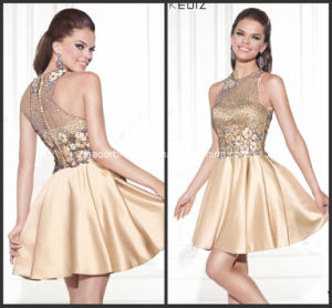 Halter Mini Party Prom Gowns Champagne Applique New Cocktail Dresses Y2007 pictures & photos
