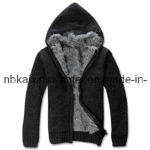 Black Melange Wool Hoody Cardigan Sweater With Thick Wool (KX-W16)