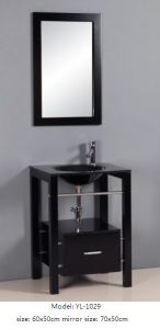 Floor Mounted Bathroom Vanity with Ceramic Basin Mirror pictures & photos