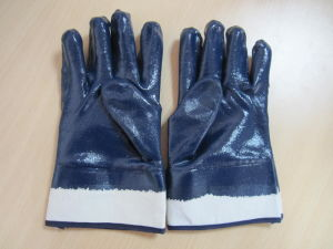 Jersey Lining Liner Open Back Nitrile Chemical Resistant Glove pictures & photos