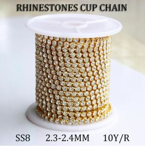 Gold Claw Strass Cup Chain Rhinestones Crystal Claw Chain (RC ss8 crystal) pictures & photos