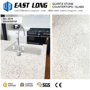 High Grade White Marble Vein Quartz Stone Slabs for Vanity Tops/Engineered with Polished Surface pictures & photos