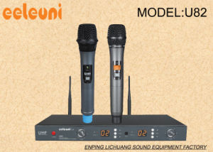 Classics and Concise Professional UHF Pll Dual Channels Wireless Microphone