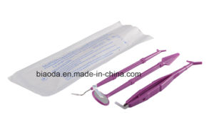 Disposable Dental Instrument Kit (glass mirror+stainless steel tweezer+double end probe+dental bib+plastic tray) pictures & photos