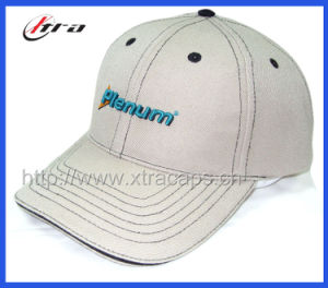 Simpleness Baseball Cap Black Stitch on White Hats pictures & photos