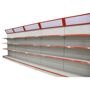 Yuanda Single Side Supermarket Shop Gondola Display Pegboard Metal Steel Shelf Rack with Light Box Yd-008 pictures & photos