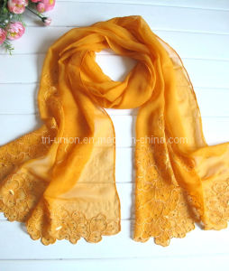 Women 100% Silk Scarf with Embroidery