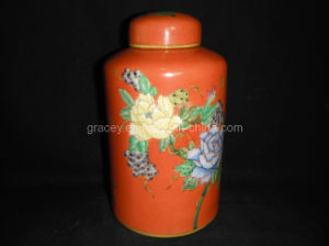 Red Ceramic Tea Caddy /Ceramic Jar Decoration /Glazed Ceramic Seal Pot (FR1983)