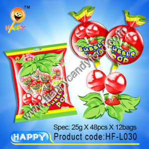 Bubble Gum Lollipop / Lollipop with Bubble Gum (HF-L030)