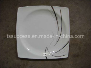 Bone China 20PC Set Dinnerware Square Shape With Silver Design
