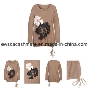 Lady′s High Quality Pure Cashmere Knitwear with Flower Patter