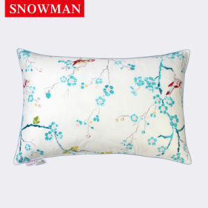 Green Flower Printing Soft Cover White Duck Down Pillow