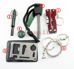Outdoor Survival Kit with Compass, Fire Stick, Whistle, Pliers, Knife pictures & photos