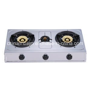3 Burners Stainless Steel 710mm Length 100 Iron Steel Cap Gas Cooker/Gas Stove pictures & photos