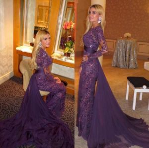 Purple Sequins Lace Mother of Bride Dress Arabic Muslim Evening Dresses Z7046 pictures & photos