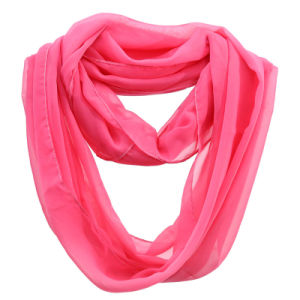 Girls Fashion Plain Color Polyester Chiffon Summer Infinity Scarf (YKY1110) pictures & photos