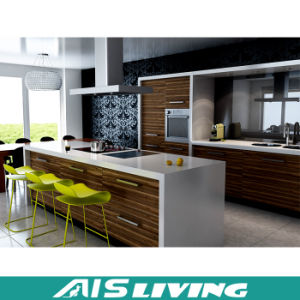 Melamine Wood Walnut Kitchen Cabinets Furniture (AIS-K184)