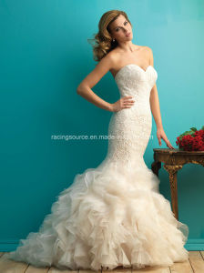 New Arrival Sweetheart Bridal Gown Embroidary Ruffle Wedding Dress pictures & photos