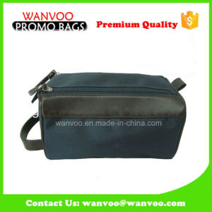 Black Men′s Travel Canvas Two Zipper Cosmetic Bag for Wholesale pictures & photos