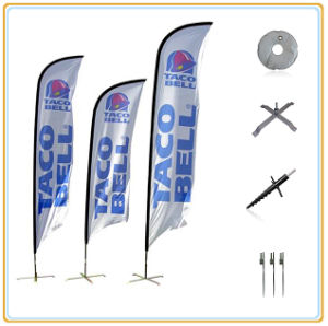 4.5m Knitted Polyester Events Feather Advertising Flags with Aluminum Poles pictures & photos