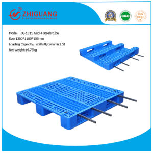 1300*1100*155mm HDPE Plastic Pallet Heavy Duty 4 Way 1t Rack Loading Pallet Plastic Tray with 3 Runners pictures & photos