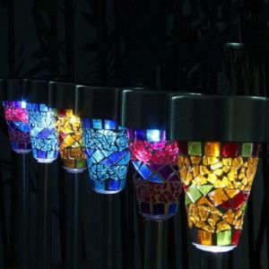 Garden Solar LED Light Color Changing Mosaic Decoration Stake Pathway Lights Outdoor pictures & photos