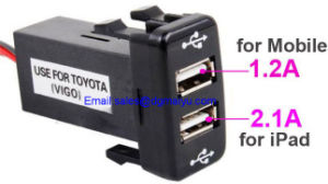 2.1A Dual USB Power Socket for Smart Phone PDA iPad iPhone Charger for Toyota Vigo pictures & photos