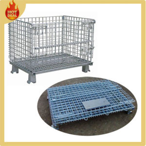 Folding Galvanize Metal Warehouse Wire Mesh Containers pictures & photos