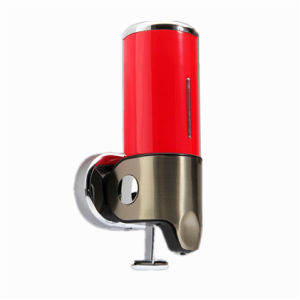 Red 500ml Stainless Steel+ABS Plastic Wall-Mountained Liquid Soap Dispenser
